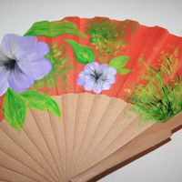Hand painted fan. Big Flowers. Free shipping to US.