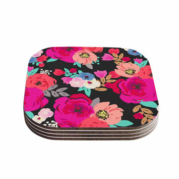 "Crystal Walen ""Sweet Pea"" - Black Floral Coasters (Set of 4)"