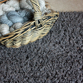 Handwoven Chenille Shag Rag Rug using Recycled Pendleton Wool Selvages Woven