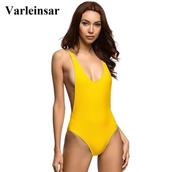 Sexy Yellow Deep V neck Low Back 2018 One Piece Swimsuit Women Swimwear Female Bather Bathing Suit Swim Backless Monokini V111Y