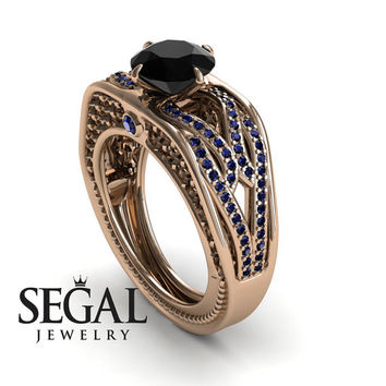 Engagement ring 14K Red Gold Vintage Antique Ring Black Diamond With Sapphire - Bailey