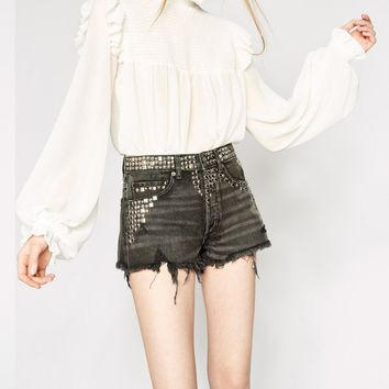THE KOOPLES | Studded Denim Shorts - Black