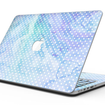 Micro Polka Dots Over Blue Watercolor Surface - MacBook Pro with Retina Display Full-Coverage Skin Kit