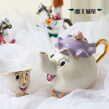 1 POT + 1CUPS Cartoon Beauty And The Beast Mrs Potts Chip Coffee Tea Set Pot Cup Mug Porcelain 18K Gold-plated Ceramic Gift