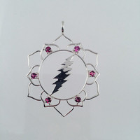 Grateful Dead, Lotus Flower & 13 Point Lightning Bolt Pendant with 6 Pink Tourmaline Gems in 925 Sterling Silver, Sacred Geometry