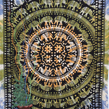 Mandala Beautiful Elephant Tapestry, Hippie Indian Tapestry, Bohemian Wall Hanging, Indian Wall Hanging Tapestry