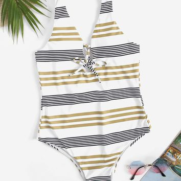 Striped Lace-up Low Back One Piece Swimsuit