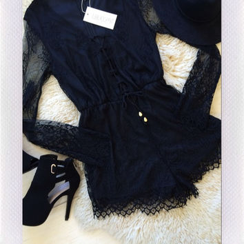 LOVECAT- Laced With Love Playsuit