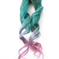 2x Pastel Holographic Clip in Human Hair Extensions Green Lavender Pink Ombre