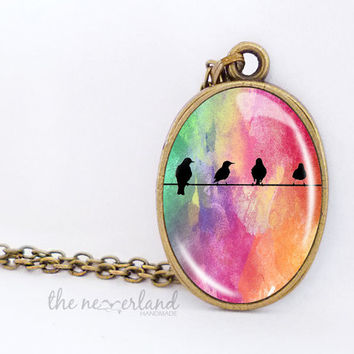 Birds pendant, customized necklace, watercolor nature, autumn jewelry, gift for friend, by The Neverland