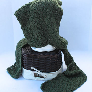 Hooded Scarf - Crochet -  Women or Teen - Green
