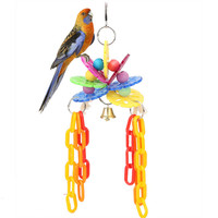 Pet Bird Chewing Toys Colorful Parrot Cage Acrylic Blocks Swing Playing Scratcher Climbing Toy With Bell for Pet Bird Parrot