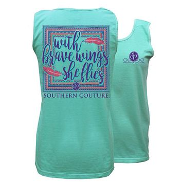 Southern Couture She Flies Feathers Comfort Colors Tank Top