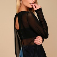 Love Light Black Sheer Mesh Long Sleeve Top