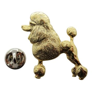 Poodle Pin ~ 24K Gold ~ Lapel Pin