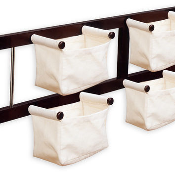 Elegant Storage/Magazine Rack with 4 Canvas Baskets by Winsome Woods