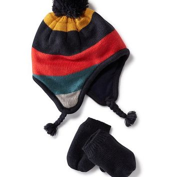 Old Navy Sweater Knit Hat And Mittens Set