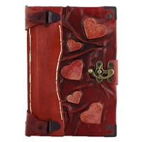 Embossed Hearts Leather Journal / Notebook / by ALittlePresent