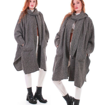80s Vintage Wool Cape Coat Batwing Tweed Black White Gray Heavy Warm Oversized Draped Minimalist Retro Winter Women One Size Fits All