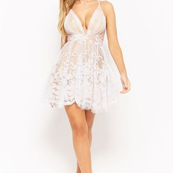 Plunging Mesh Tulle Floral Dress