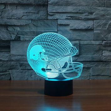 NFL Football Helmet 3D LED Night Light Lamp