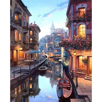 DIY PBN Painting Venice City Pictures By Numbers On Canvas Framed Wall Pictures Art For Living Room Home Decoration PH9448