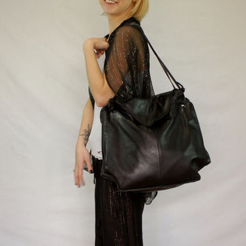 Oversized Black Leather Slouchy Purse