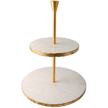 Thirstystone® Old Hollywood 2-Tier Marble Dessert Stand