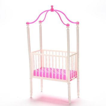 Small Sweet Baby Crib For Barbie Girls Doll Furniture Kelly Doll's Baby Bed Doll Accessories 11cm*5.5cm*23cm