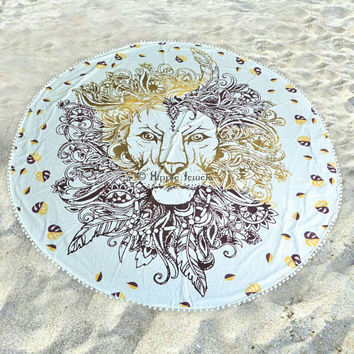 Rasta Lion Round Mandala Tapestry Hippie Indian Towel Yoga Mat Blanket Plain, pompom, or with tassels
