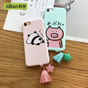 JiBan Cartoon pig for iphone7 7 plus case mobile phone shell frosted hard shell lovely tassel tide for iphone 6 6s plus cases