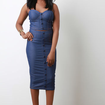 Stretchy Denim Button Decor High Waisted Pencil Skirt | UrbanOG