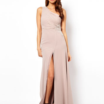 Lipsy VIP One Shoulder Maxi Dress with Jewels