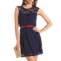 Pop Belt Lace A-Line Dress: Charlotte Russe