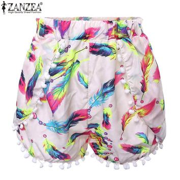 Zanzea Fashion 2017 Summer Style Women Floral Printed Pom Pom Hem Shorts High Waisted Tassel Casual Hot Shorts Plus Size