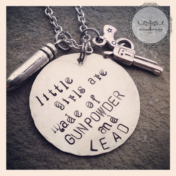 Hand Stamped Tag Girls are made of by SoBeautifullyBroken on Etsy