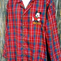 Men's Large MICKEY MOUSE Pajama top DISNEY STORE Christmas Morning L Plaid Red
