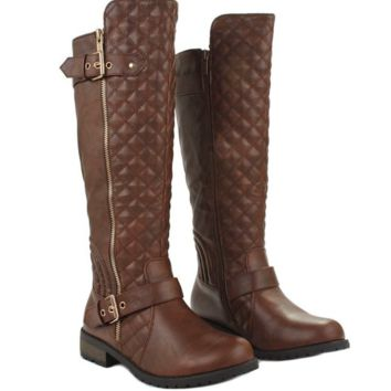 Women's Winkle Back Shaft Side Zip Knee High Flat Riding Boots