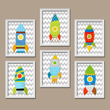Rocket Boy Wall Art Canvas Outerspace Artwork Child Chevron Pattern  Set of 6 Prints Baby Bedroom Decor