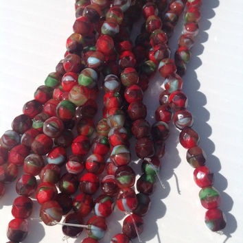 Sale Supplies, Beads, Czech glass beads, faceted glass beads,6 mm bead,Czech glass,faceted bead,picasso czech beads,supply,round bead,mix,st