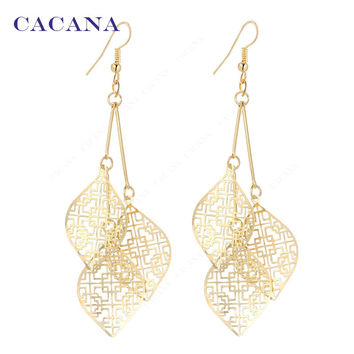 2016 new CACANA gold plated dangle long earrings with 3 same hollow leaves for women bijouterie hot sale No.A95 A96