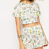 ASOS Reclaimed Vintage Crop Top In Textured Floral