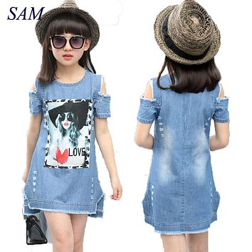 Children Dresses For Girls Denim Dress Summer Strapless Dress Pattern Girls Clothing Short Sleeve Child Clothes Denim T-Shirts