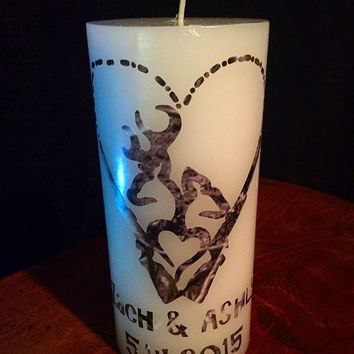 Camo wedding unity candle. Deer camo wedding personalized wedding candle, custom unity candle, any design available