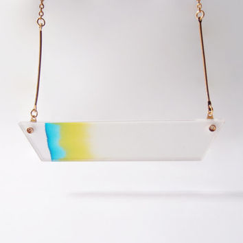 ombre necklace chromatography . gradient blue and yellow . 14k gold filled chain . acrylic cover . dawn morning skies