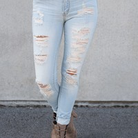 Lulu Distressed KanCans (Light Wash)
