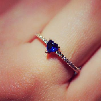 R1001 Women Rings Zircon Stone Blue Heart Finger Anillos Fashion Jewelry Anel Wedding Engagement Ring