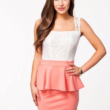 Pink Sleeveless Lace Peplum Mini Dress
