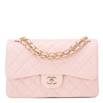 Chanel Light Pink Quilted Lambskin Jumbo Classic Double Flap Bag