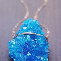RESERVED Blue Chalcanthite Gold Necklace - PRIORITY